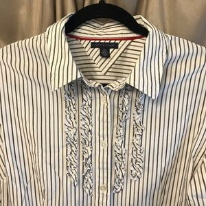 Tommy Hilfiger Striped Ruffled Button Down EUC Lg